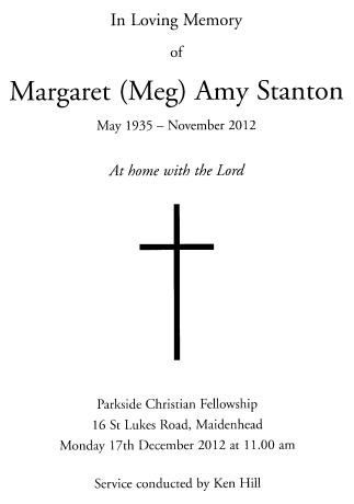 Meg Stanton Thanksgiving Service